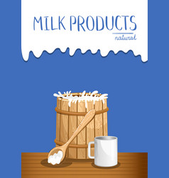 dairy products banner with milk wooden barrel vector image