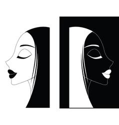 Girl or Women ying-yang vector image vector image