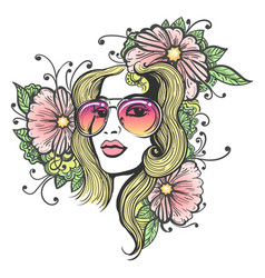 hand drawn girl face with flowers vector image vector image