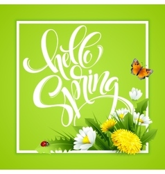 Inscription Hello Spring Hand Lettering on vector image vector image