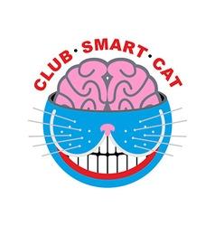 Logo cat Club smart Cat Animal and brain Emlema vector image