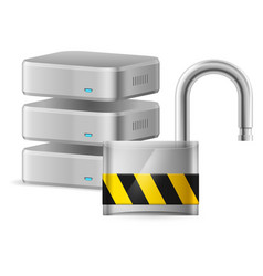 open padlock - computer security concept on white vector image