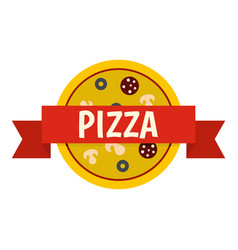 pizza badge with red ribbon icon isolated vector image vector image