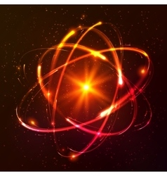 Red shining cosmic atom model vector image