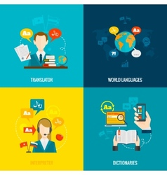 Translation and dictionary flat icons vector image