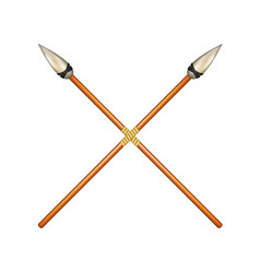two crossed ancient spears vector image vector image