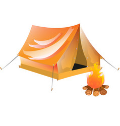 yellow tourist tent vector image vector image