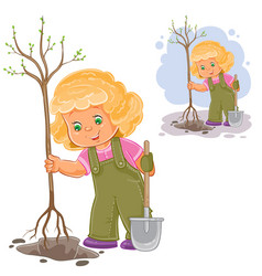 a little girl planting a vector image vector image