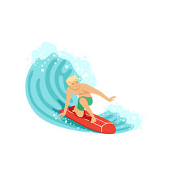 cheerful man surfing on the ocean wave water vector image