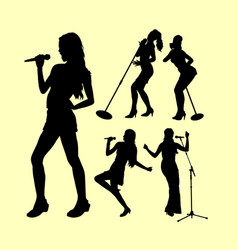 Female singing silhouette vector
