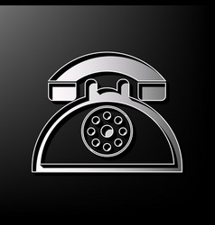 retro telephone sign gray 3d printed icon vector image