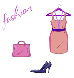 Set of trendy women s things on a white vector