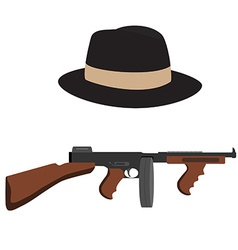 Tommy gun and fedora hat vector image vector image