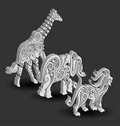 Giraffe Elephant Lion Floral Decorations vector image