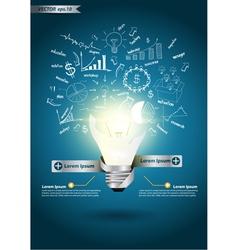 Idea light bulb broken with drawing business plan vector