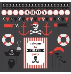 Printable set of vintage pirate party elements vector image