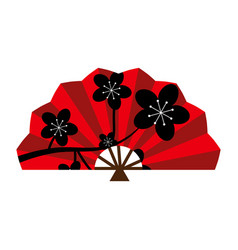 red silk chinese fan vector image