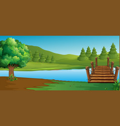 scene with river and pine trees vector image