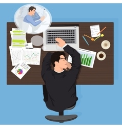 Tired business man worker sleeping at work vector image
