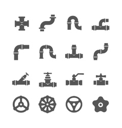 Valve taps pipe connectors details icons vector image