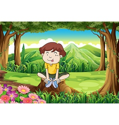 A silly young boy above stump vector