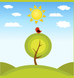 a tree and a bird vector image vector image