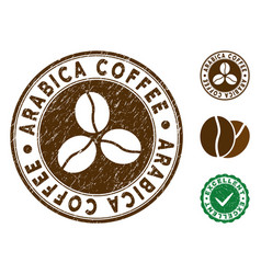 Arabica coffee stamp with grunge texture vector