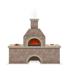 barbecue oven built of stone vector image