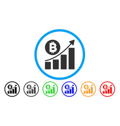 bitcoin bar chart trend flat icon vector image