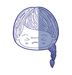 Blue shading silhouette of kawaii head little girl vector