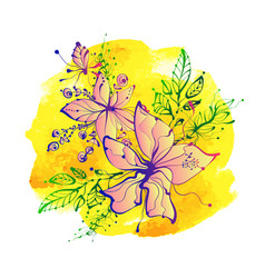bright fantasy hand drawn flowers on watercolor vector image