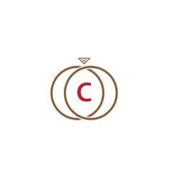 c letter ring diamond logo vector image