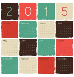 Calendar 2015 tile colorful vector