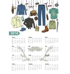 Calendar 2016 yearmale fashion setcolored vector