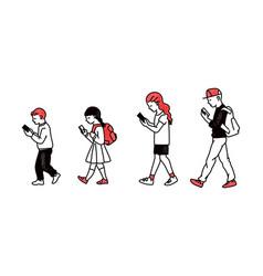 Cartoon children walking in line looking at vector