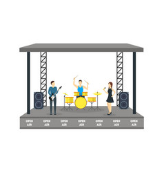 Cartoon open air festival isolated on white vector