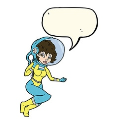 Cartoon space woman with speech bubble vector
