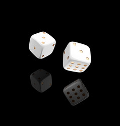 casino white dice on black background with vector image