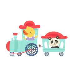 Cheerful red cheeked chicken and panda driving toy vector