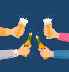cheers with beer glasses hands holding glass vector image