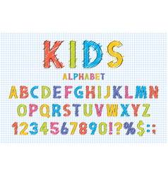 Childish font and alphabet in school style pencil vector
