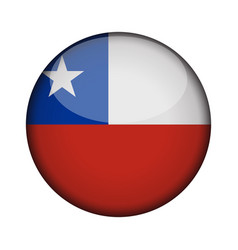 chile flag in glossy round button of icon chile vector image
