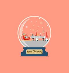christmas glass ball with santa factory vector image