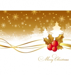 Christmas with holly berries vector