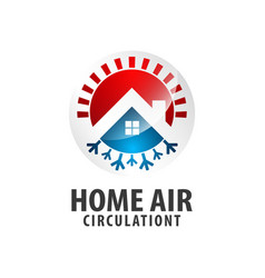 circle arrow home air circulation logo concept vector image