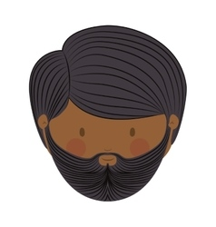 Colorful arabic man head without turban and beard vector