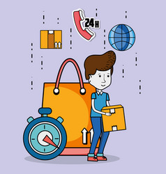 Delivery and courier cartoons vector