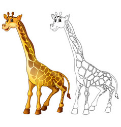 doodle animal character for giraffe standing vector image