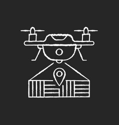 Drone mapping chalk white icon on black background vector
