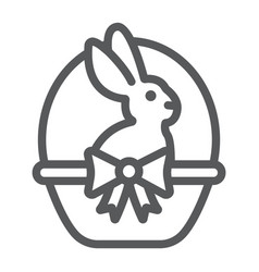 easter bunny in basket line icon easter and vector image